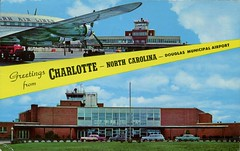Douglas Airport, Charlotte, North Carolina (SwellMap) Tags: architecture plane vintage advertising design pc airport 60s fifties aviation postcard jet suburbia style kitsch retro nostalgia chrome americana 50s roadside googie populuxe sixties babyboomer consumer coldwar midcentury spaceage jetset jetage atomicage