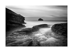 Reminiscence (Lindi m) Tags: longexposure seascape mono rocks cornwall seashore trebarwithstrand gullrock zomeiirfilter