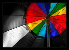 the essence (milomingo) Tags: umbrella vivid monochrome color grey blackandwhite multicolored bw bright linear geometry symmetry light shadow contrast frame bold black white gray metal pole metallic abstract photoart rainbow round circle red green yellow blue vividstriking lifeincolors photoborder