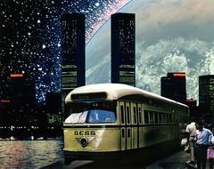 Street Car (Keysgoclick) Tags: city film analog skyscraper 35mm stars earth trolley surrealism space towers surreal future planet scifi sciencefiction streetcar slides scifiart mikhailsiskoff keysgoclick