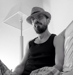 Good Morning World (giannipaoloziliani) Tags: city morning light sleeping portrait blackandwhite italy selfportrait men me lamp hat myself beard relax real photography glasses photo natural retrato milano tag bad relaxing style moi io sofa myhouse justme tagme earrings goodmorning divano sonno myhome luce barba biancoenero scruffy lampada cappello autoscatto selftimer occhiali iphone selfie mattino justwokeup singlet scatto brutto italianstyle noeffects orecchini longbeard badstyle assonnato appenasveglio blacksinglet shotme meblackandwhite milancity trasandato scruffymen selfietime morningstyle scruffystyle unlikelystyle