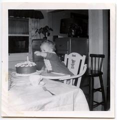 1st Birthday (Georgie_grrl) Tags: birthday blackandwhite me fun one mine candle scan celebration 49 1stbirthday blastfromthepast oohcake lastlapof40s