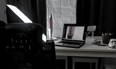 My improvised table-top 'studio' (Simon Taylor Local Photographic) Tags: lighting camera pink white home lamp studio table lava laptop stormtrooper amateur softbox makedo