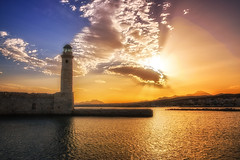South wind morning painting (Theophilos) Tags: sea sky lighthouse clouds sunrise crete rethymno
