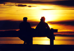 Old friends (daviddunblane) Tags: sunset silhouette bench scotland ross highlands glow seated wester shieldaig