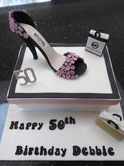 Designer Shoe Box Cake (Victorious_Sponge) Tags: birthday pink white black cake 40th shoe michael box designer 30th bags stiletto 50th 60th kors