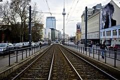Tram lines, Berlin (I M Roberts) Tags: berlin alexanderplatz tramlines televisiontower fujix100s