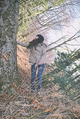 Just a girl, Just a tree (isabelle.collier) Tags: tree girl woods hiking explore forcedperspective sideways fallentree