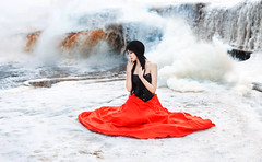 Olga (ridmovies) Tags: winter light red portrait people woman white cold cute ice nature water colors girl beautiful beauty female river hair waterfall cool model pretty mood dress emotion outdoor smoke young sensual