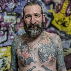 RODOLPE (jean-fabien) Tags: portrait man male 6x6 face 35mm square body style barber tatoos fujinon dandy authentic barbe visage carré fx35 500x500 rockstyle menstyle xpro2 tatoued taouages taooed menfasion