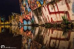 street art (ma_rohe) Tags: nightphotography reflection puddle graffiti reflejo puddles reflejos reflects grafitty charco charcos grafittyart
