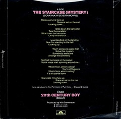 Siouxsie and the Banshees - The Staircase (Mystery) / 20th Century Boy (1979) (stillunusual) Tags: artwork vinyl staircase single record 1970s 1979 sleeve postpunk trex siouxsie marcbolan recordcover bside siouxsieandthebanshees picturesleeve 20thcenturyboy coverversion thestaircasemystery