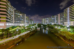 Punggol Waterway Terraces Dec '15 (knowenoughhappy) Tags: bridge blue sunset wall night point singapore december terrace dusk arc dec hour punggol waterway 2015 heartwave