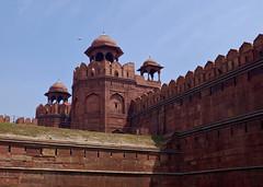 The Red Fort (Mondmann) Tags: travel india tower history wall sandstone asia fort delhi landmark historic fortification fortress newdelhi redfort southasia mughal lalqila redsandstone mondmann fujifilmx100s