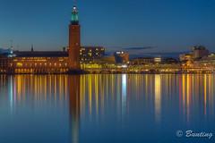 Stockholm City Hall at Night (stevebfotos) Tags: longexposure night river se sweden stockholm gamlastan bluehour hdr riddarfjrden stockholmcityhall stockholmsln