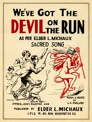 We've Got the Devil on the Run (Alan Mays) Tags: old girls red music men boys 1932 vintage paper children religious typography dc washington 1930s districtofcolumbia women antique devils religion families phillips horns illustrations running sheets ephemera artists sacred type covers sheetmusic fonts printed hammond songs bibles tails whips composers typefaces fryingpans hooves publishers illustrators ontherun michaux pitchforks evangelists whammond rollingpins musicsheets sacredsongs devilontherun eldermichaux lmichaux wevegotthedevilontherun lzphillips lightfootsolomonmichaux