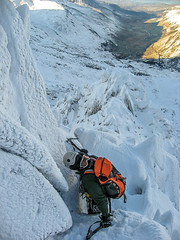Winter climber- Central Gully (mikeknowles60) Tags: snow wales canon handheld snowdonia iceclimbing winterlandscape canonixus glyderfach winterclimbing