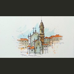 A recent video posted on YouTube. Another inspiring Cathedral in the beautiful old city of Porto, Portugal. Link to my YouTube Channel is in my bio (sheelerart) Tags: original art portugal church architecture ink watercolor painting landscape video chapel porto watercolour penandink youtube winsorandnewton paintingaday youtubers moleskinearts
