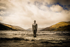 the wind chill factor (morag.darby) Tags: sky cloud mountain cold art water metal landscape outside mirror bay scotland still nikon hill surreal wave shore cielo loch nikkor sculputure a85 lochearn stfillans mirrorman d3300