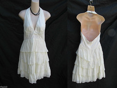 Betsey Johnson Dress Womens 8 Cotton Halter w Tiered Skirt Cream made in USA (rho210) Tags: new dress johnson ivory 8 womens cotton halter betsey tiered sleeveless
