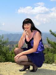 Sweet girl (Paula Satijn) Tags: mountains hot sexy stockings girl sunshine outside purple silk cyprus skirt tgirl transvestite satin miniskirt gurl