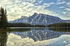Rundle Reflection (John Andersen (JPAndersen images)) Tags: summer clouds reflections waterfall banff hdr mtrundle twojacklake borderfx img3760aurorahdr