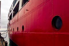 SetMeFree (SoniaGallery.com) Tags: red sun water marina docks dock agua marine flickr ship novascotia rope splash tiedup portholes waterways atlanticcanada redboat cloudyweather redship boattied soniagallery soniaargenio bysoniaa