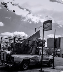 Junk Truck on a spring day pic24 4-25-2016 (Artemortifica) Tags: street bridge sky chicago cars clouds buildings construction blueline crane bikes graffity milwaukee western trucks damen