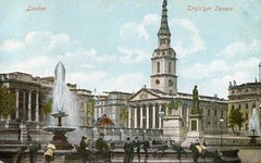 Trafalgar Square , and St Martin's in the Fields . December-1900 . (AndrewHA's) Tags: london church statue trafalgar fountains sights sqare stmartinsinthefields