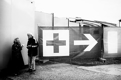 one last time (Refractious) Tags: street city people urban blackandwhite bw monochrome sign streetphotography story wang symbols refractious