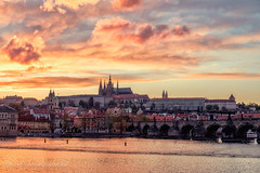 Prague Sunset (Rory Prior) Tags: city sunset urban castle evening spring prague charlesbridge
