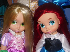 Little Girls! Rapunzel and Ariel (belleanderuhin) Tags: blue ariel store doll dress princess little disney collection mermaid pascal rapunzel tangled animator