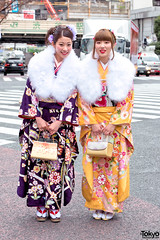 Kimono in Tokyo on Coming of Age Day (tokyofashion) Tags: street fashion japan tokyo style kimono obi streetfashion furisode 2016 japanesefashion comingofageday traditionalfashion