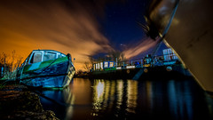 canal boats (RoboDiscoBoogy) Tags: reflection nature water night stars boats canal long exposure