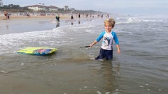 Everett And His Boogie Board (Joe Shlabotnik) Tags: cameraphone ocean beach florida pontevedra everett boogieboard 2015 micklersbeach justeverett galaxys5 december2015