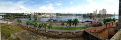 201502_20_12 - Rio Ozama (bnjmnwood) Tags: columbus people panorama building monument water river boat cityscape dominican dominicanrepublic dr panoramic palmtree colon santodomingo faroacolon iphone5 lighthouseatcolon