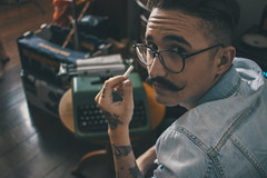 Creating (Dawelz) Tags: music orange classic glass shirt modern writing canon vintage beard poetry solitude alone teal hipster piano poetic oldschool tattoos moustache jeans indie casual inside typing alternative t3i loliness