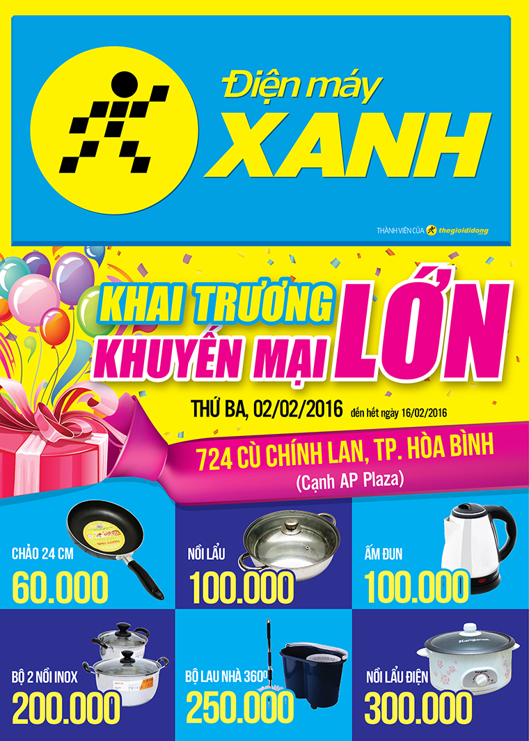 Khai trương siêu thị Điện máy XANH Hòa Bình Cù Chính Lan