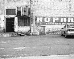 No Parking I (nikolaijan) Tags: bw 120 mamiya film kentucky hp5 analogue ilford ohioriver rb67 maysville c90mmf38