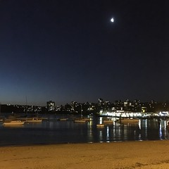 Moonrise Beach (24thcentury) Tags: moon beach night sydney australia manlywharf