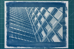 Cyanotype (Leandro C Rodrigues) Tags: blue texture textura linhas azul shadows outdoor squares perspective line historical a4 sombras alternative cyanotype analogic quadrados analogico cianotipia photoborder processohistorico
