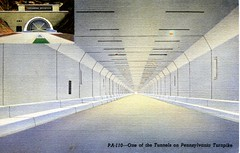 Inside Tuscarora Tunnel on the Pennsylvania Turnpike PA (Edge and corner wear) Tags: road railroad vintage pc highway pennsylvania postcard rr tunnel system pa interstate turnpike americas superhighway