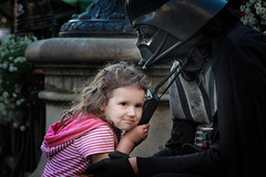 Father and daughter on the market square in Lviv. Ukraine. (mariuszbarwinski) Tags: kids children starwars play ukraine vader lvov interaction streettheatre lvi mariuszbarwinski barwinskimariuszgmailcom mariuszbarwinskicom