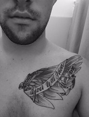 angel wing tattoo by Wes Fortier at Burning Hearts Tattoo Co. - Waterbury, CT