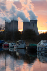 Fiddler's Ferry sunset 07 feb 16 (Shaun the grime lover) Tags: winter sunset cloud haven reflection tower water station ferry boats canal warrington industrial power cheshire yacht towers vapour fiddlers plume cooling cuerdley