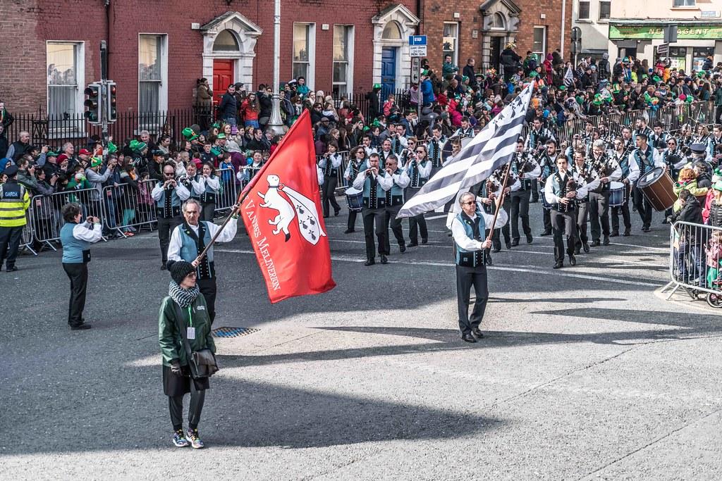 Bagad de Vannes Melinerion Brittany [St. Patrick's Parade In Dublin 2016]-112380
