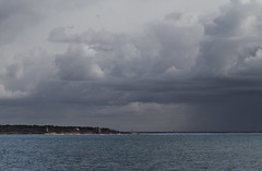Point Gammon Under A Dark Sky (brucetopher) Tags: ocean light sea cloud storm green water weather clouds squall point bay capecod front cumulus change thunderstorm seas saltwater snowsquall