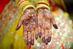 Decorated for marriage (krissen) Tags: wedding woman india bride hands dof bokeh patterns varanasi henna indien sparkling mehndi banaras brllop indianwedding 16vtindien