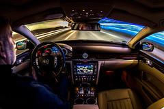 Gas Station Drive-by (e_impact) Tags: blue light car vw night speed fun happy movement alone driving phaeton