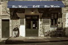 Blue Marlin bar (Stefano Belvisi) Tags: old blue italy man bar italia liguria riposo uomo rest cinqueterre vernazza marlin vecchio laspezia bluemarlinbar